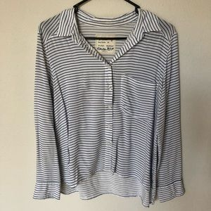 Girl Krazy Long Sleeve Button Front Nautical Top